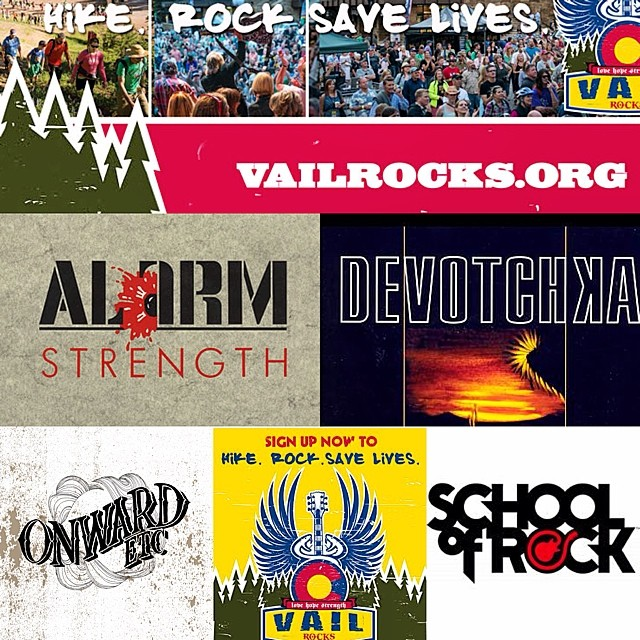 Saturday August 16th #vailrocks lineup includes some of our dear friends @devotchkamusic @thealarm @onwardetc @sordenver Please register to Hike, Rock, Save Lives www.vailrocks.org
