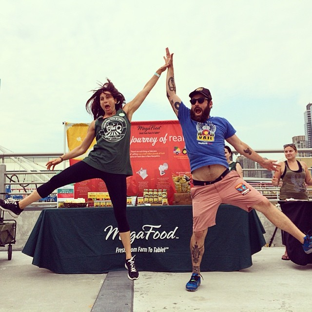 Hi Fives and Stage Dives with our friends @megafood today during an amazing afternoon of yoga & music from @michaelfranti : #soulshinetour #diftl photo: @aframeforward